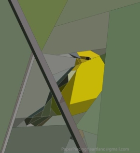 Paper Pieced Blue-winged Warbler