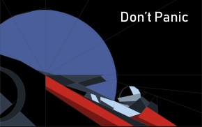 Don't Panic – Paper-pieced car in orbit