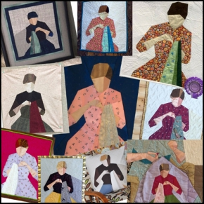 "Paper pieced ""Girl Sewing"""