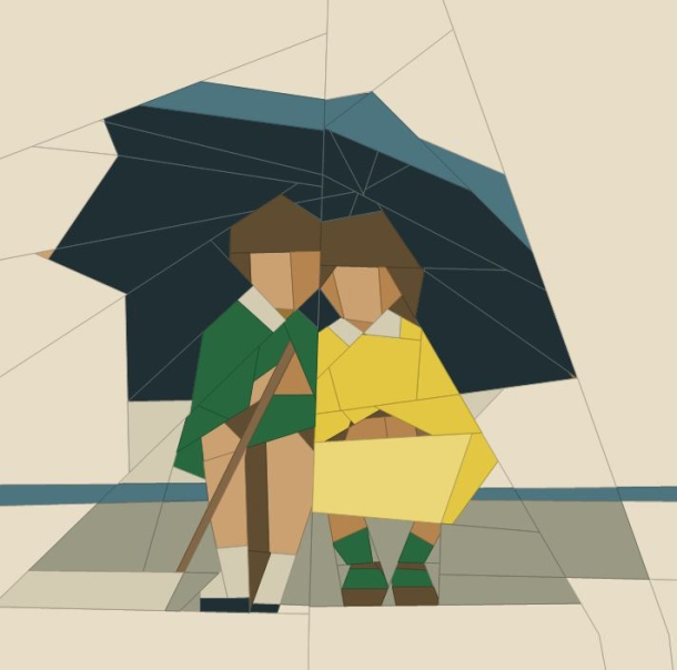 Umbrella boy and girl