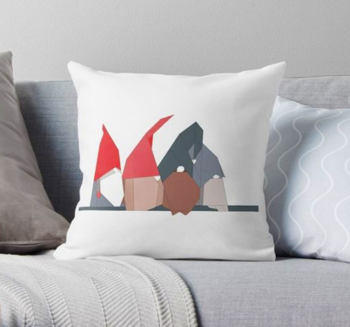 Gnomes on 16 in pillow with zipper